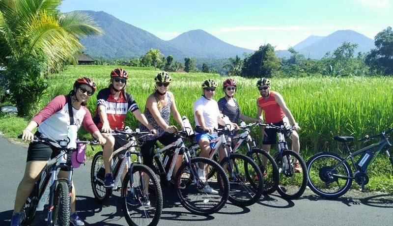 Group of people enjoying a bike ride in Bali