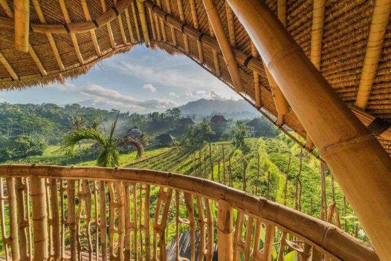 Sunning views from the balcony of Veluvana Treehouse in Sidemen, Bali