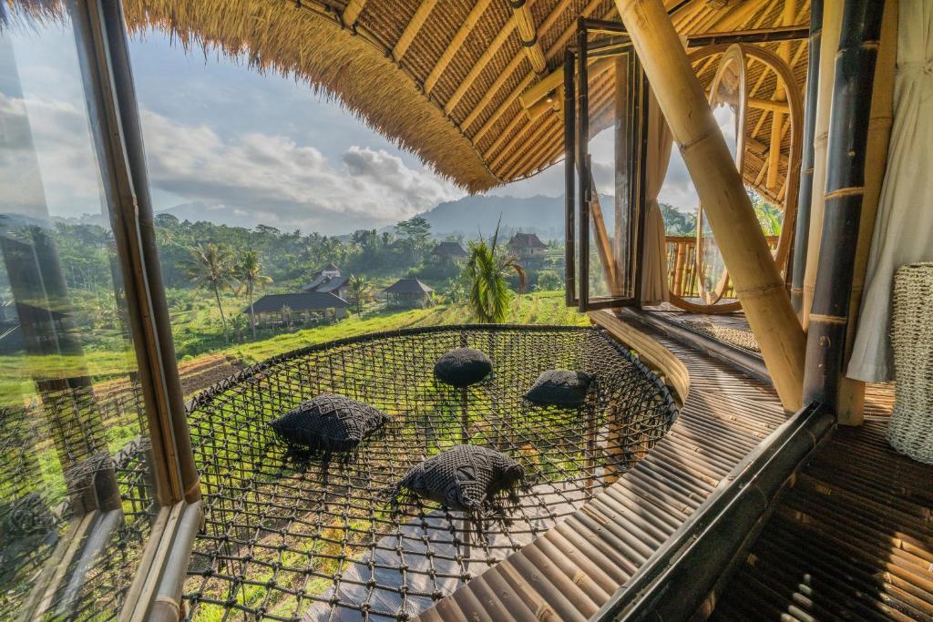 Terrace overlooking the rice fields in Sidemen, Bali.