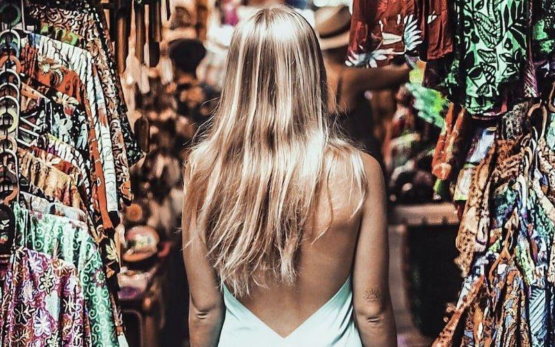 Blond lady on the Ubud art market