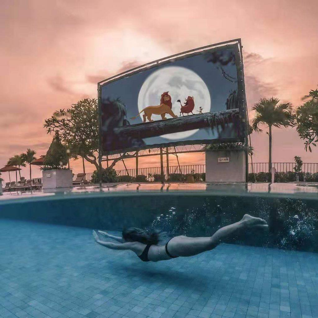 Poolside cinema experience at U Paasha Bali