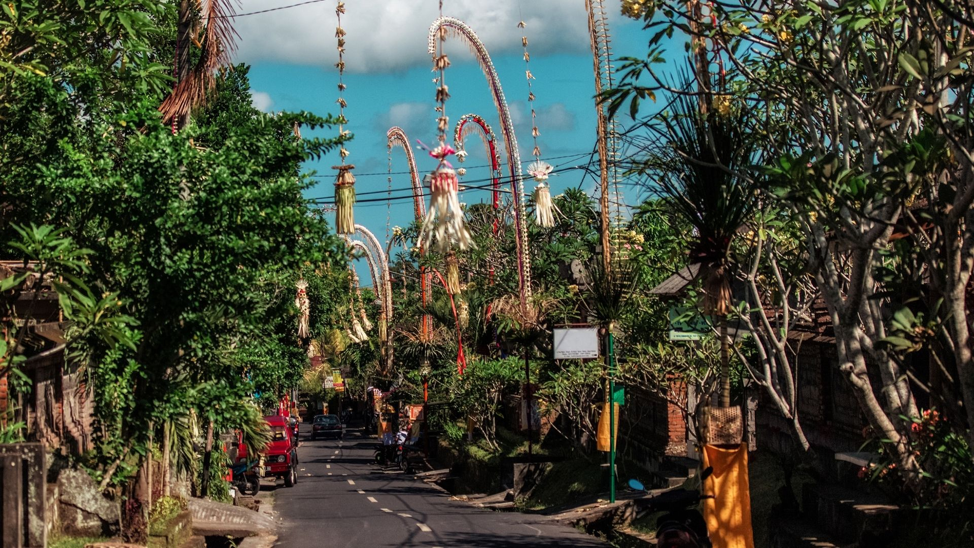 Balinese streets decorated with Galungan and Kuningan decorations