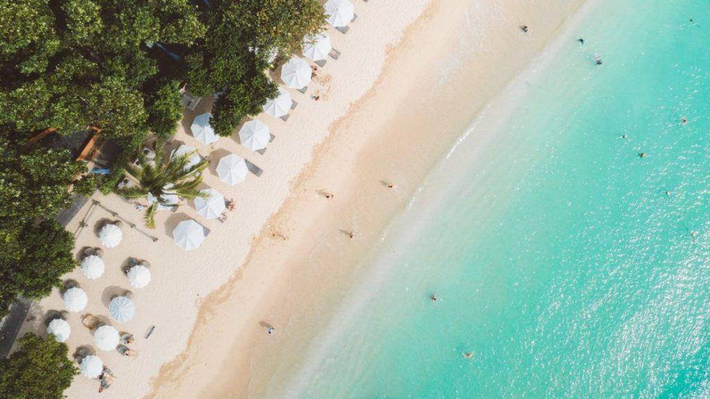 White sandy beach of Melia Bali