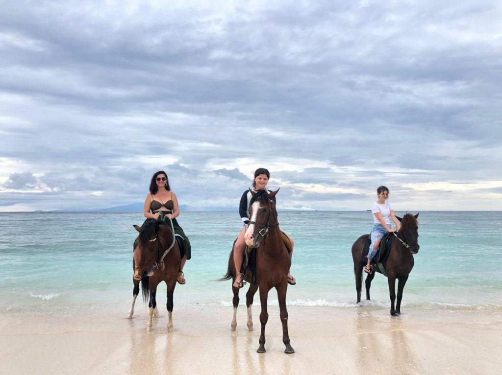 Horse riding on the beach at Gili Island