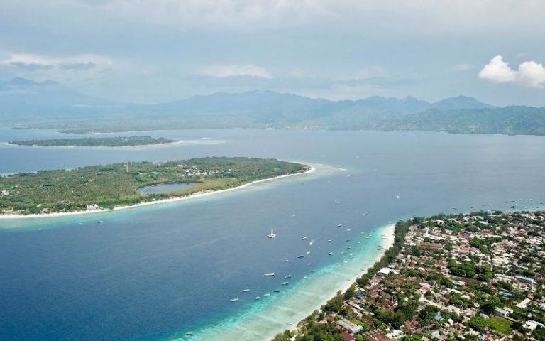 Aerial view of the Gili islands near Bali