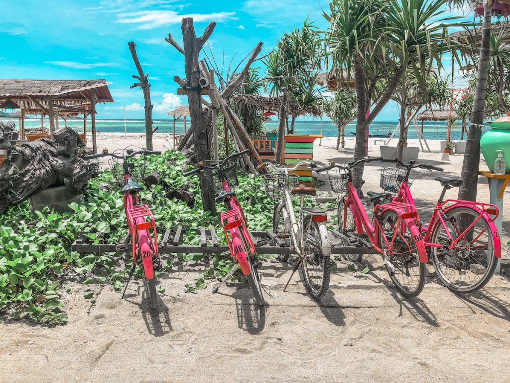 Our pink bikes on Gili Air