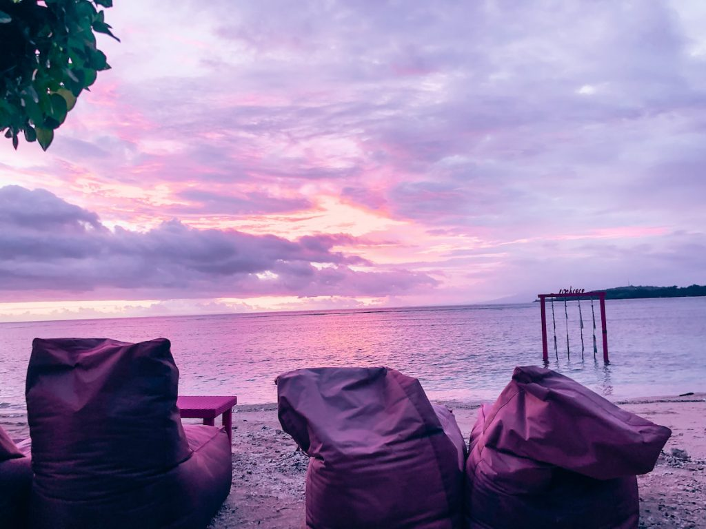 Sunset on Gili Air, pink to match the hotel!