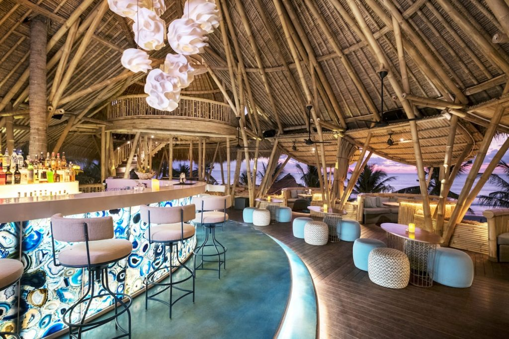 Azul Beach Club offers an eclectic beachfront dining experience in the exotic settings of the bamboo tree house