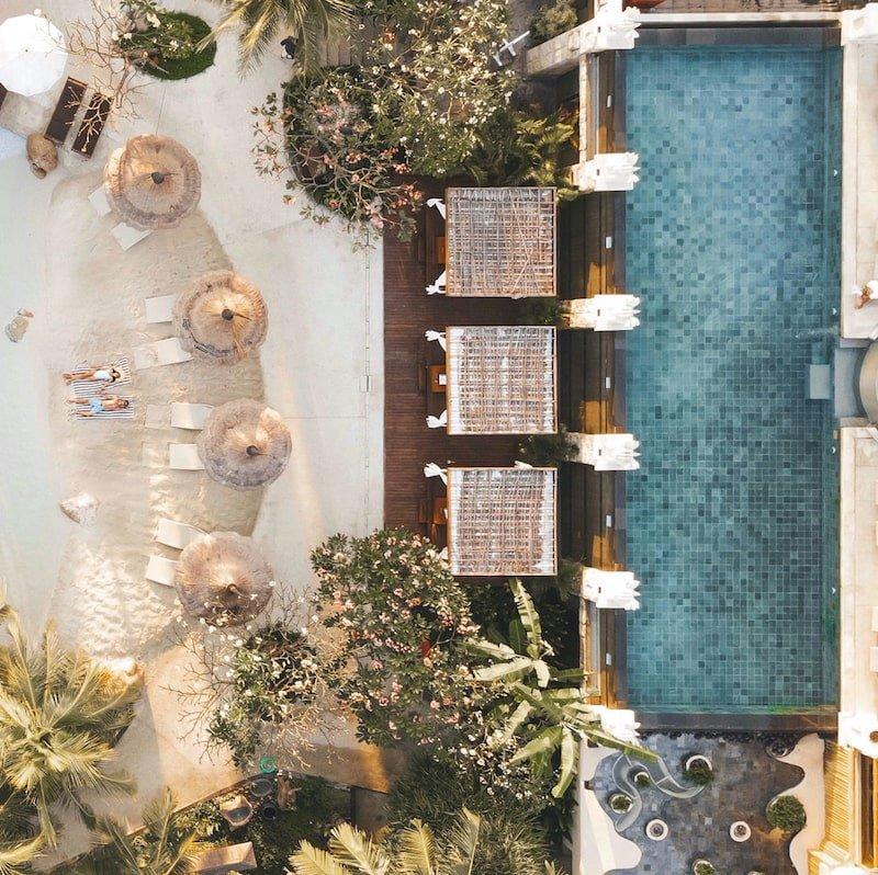 Aerial view of bali mandira resort legian