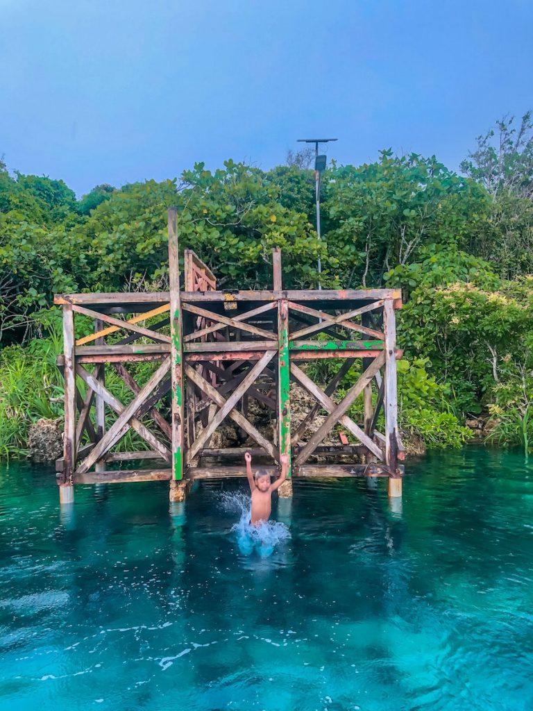 The jumping platform at Weekuri Lagoon