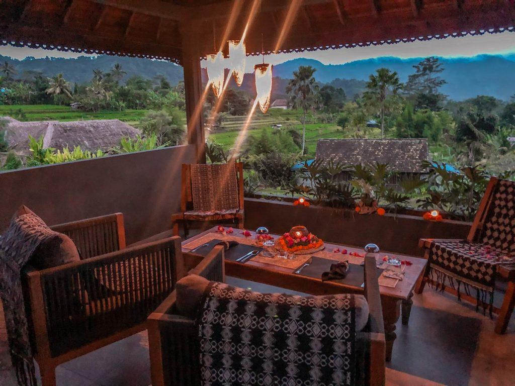 Restaurant at Samanvaya Sidemen overlooking the lush rice fields