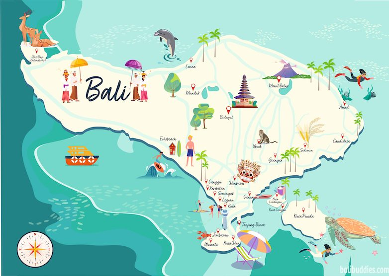 Map of Bali showing the most popular areas of Bali