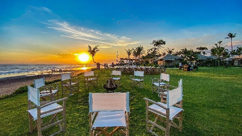 Take your pets for a play in this large grassed area at Bali Beach Glamping