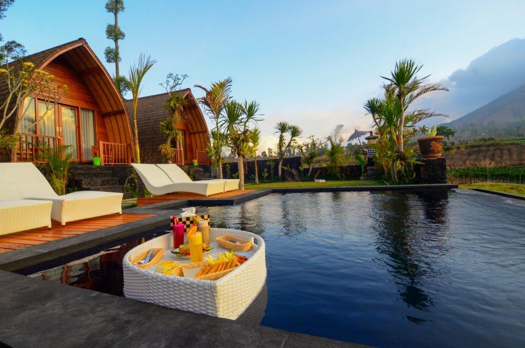 Floating treats at Batur Panorama's pool