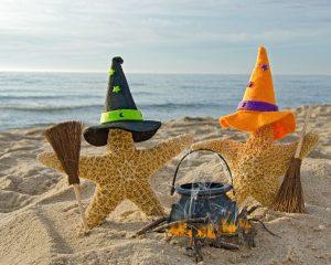 Halloween decorations on the beach