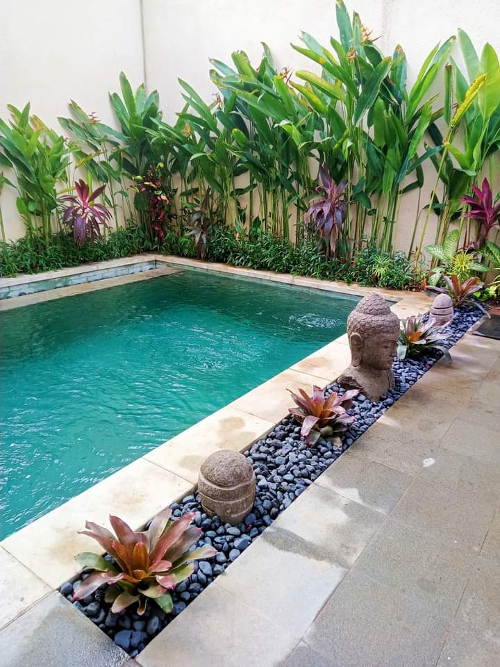 The pool area of their new home in Sanur